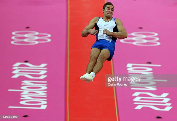 Alexander Shatilov of Israel competes on the vault in the Artistic Gymnastics Men's Individual AllAround final on Day 5 of the London 2012 Olympic...