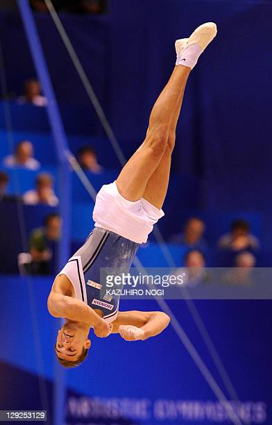 Alexander Shatilov of Israel performs during the men's floor exercise final at the World Gymnastics Championships in Tokyo on October 15 2011...