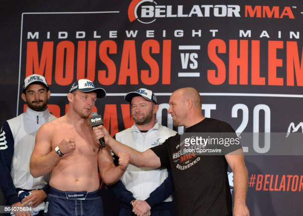 Alexander Shlemenko gives an interview after posing for photos at the weighin Gegard Mousasi will be challenging Alexander Shlemenko in a...