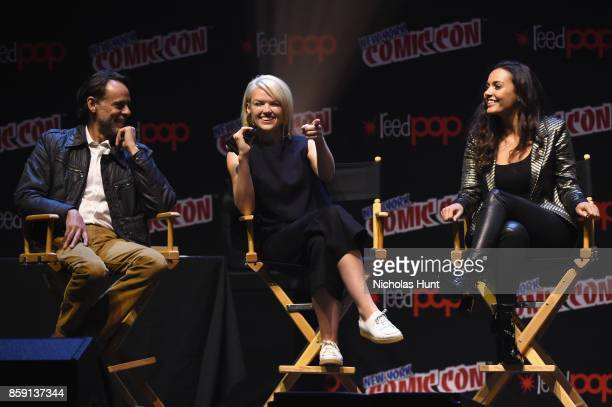 Alexander Siddig Erin Richards and Jessica Lucas speak onstage at the Gotham Panel during the 2017 New York Comic Con on October 8 2017 in New York...