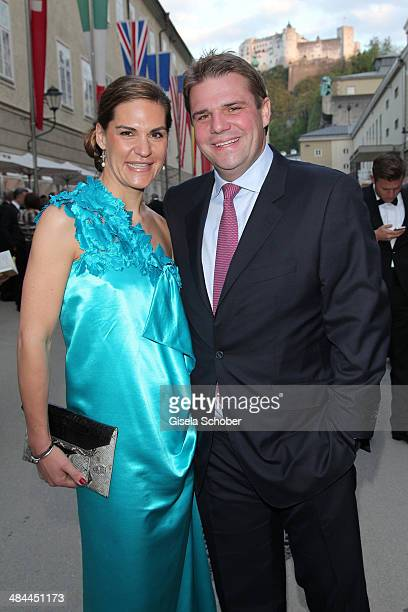 Alexander Sixt and his girlfriend Andrea Lanz attend the opening of the easter festival 2014 on April 12 2014 in Salzburg Austria