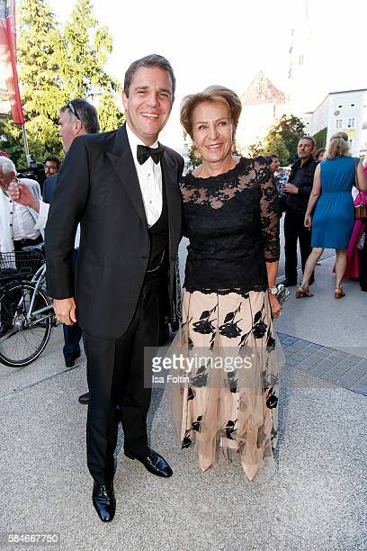 Alexander Sixt manager of Sixt International car rental and Susanne Lanz attend the premiere of the opera 'Cosi Fan Tutte' on July 29 2016 in...