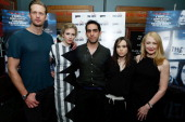 Alexander Skargard Brit Marling Zal Batmanglij Ellen Page and Patricia Clarkson attend 'The East' Brooklyn Screening at The Nitehawk Cinema on May 21...