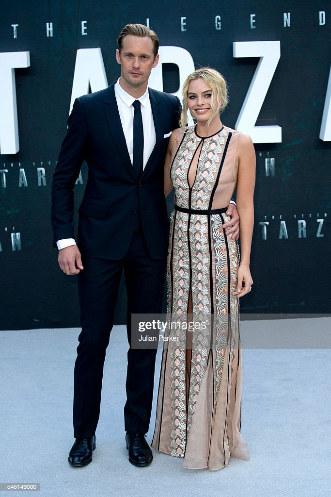 Alexander Skarsgard and Margot Robbie attend the European premiere of 'The Legend Of Tarzan' at Odeon Leicester Square on July 5, 2016 in London, England