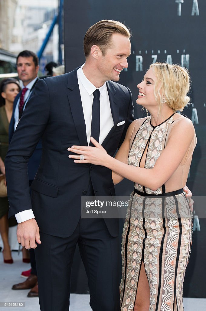 Alexander Skarsgard and Margot Robbie attend the European premiere of 'The Legend Of Tarzan' at Odeon Leicester Square on July 5, 2016 in London, England.