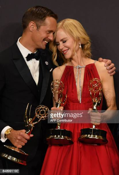 Alexander Skarsgard and Nicole Kidman pose with the award for Outstanding Limited Series for 'Big Little Lies'' during the 69th Emmy Awards at the...