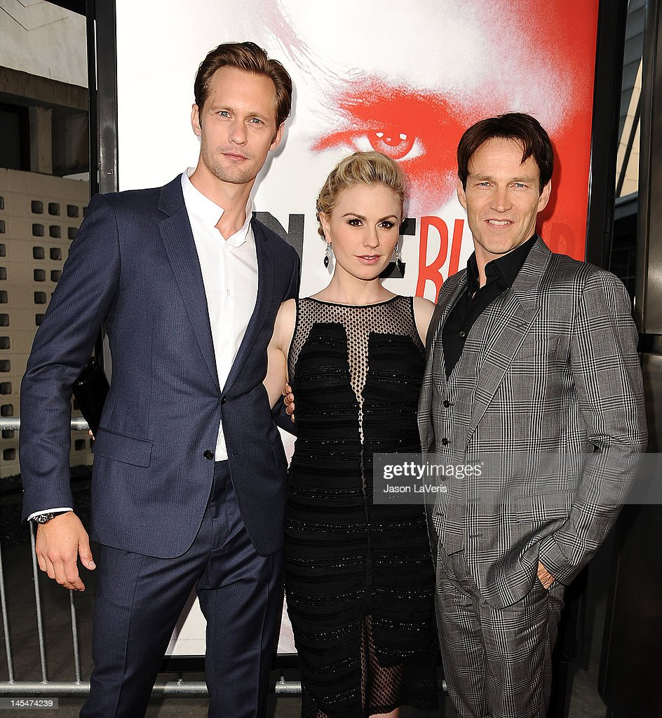 Alexander Skarsgard, <a gi-track='captionPersonalityLinkClicked' href=/galleries/search?phrase=Anna+Paquin&family=editorial&specificpeople=211602 ng-click='$event.stopPropagation()'>Anna Paquin</a> and <a gi-track='captionPersonalityLinkClicked' href=/galleries/search?phrase=Stephen+Moyer&family=editorial&specificpeople=4323688 ng-click='$event.stopPropagation()'>Stephen Moyer</a> attend the season 5 premiere of HBO's 'True Blood' at ArcLight Cinemas Cinerama Dome on May 30, 2012 in Hollywood, California.
