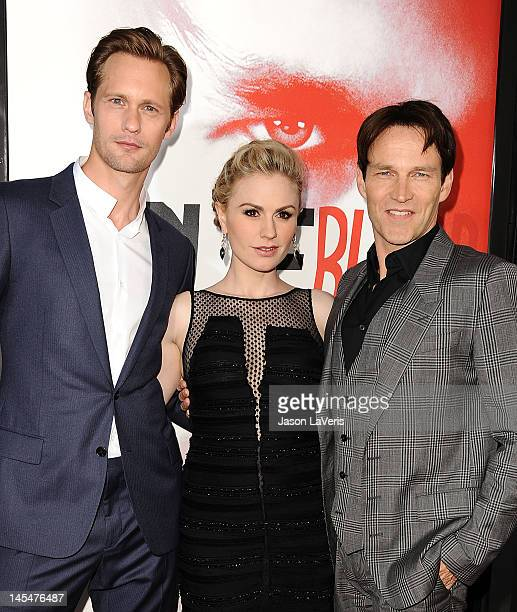 Alexander Skarsgard Anna Paquin and Stephen Moyer attend the season 5 premiere of HBO's 'True Blood' at ArcLight Cinemas Cinerama Dome on May 30 2012...