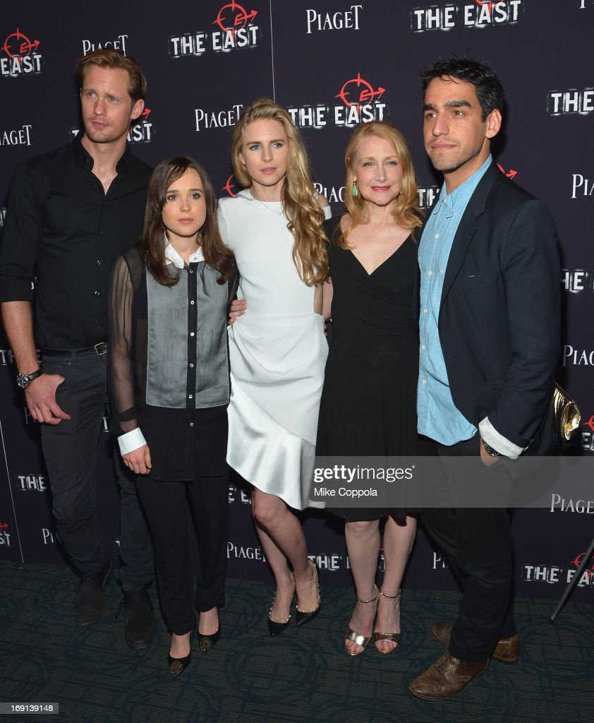 Alexander Skarsgard, Ellen Page, Brit Marling, <a gi-track='captionPersonalityLinkClicked' href=/galleries/search?phrase=Patricia+Clarkson&family=editorial&specificpeople=202994 ng-click='$event.stopPropagation()'>Patricia Clarkson</a>, and Director <a gi-track='captionPersonalityLinkClicked' href=/galleries/search?phrase=Zal+Batmanglij&family=editorial&specificpeople=4619710 ng-click='$event.stopPropagation()'>Zal Batmanglij</a> attend the New York premiere of 'The East' at Sunshine Landmark on May 20, 2013 in New York City.