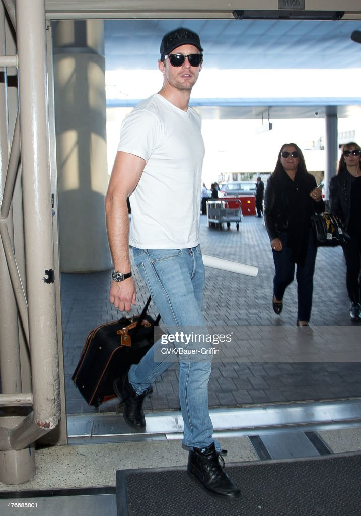 Alexander Skarsgard is seen at LAX airport on March 04, 2014 in Los Angeles, California.