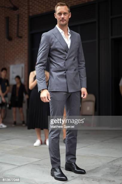 Alexander Skarsgard is seen attending BOSS during Men's New York Fashion Week wearing Hugo Boss on July 11 2017 in New York City