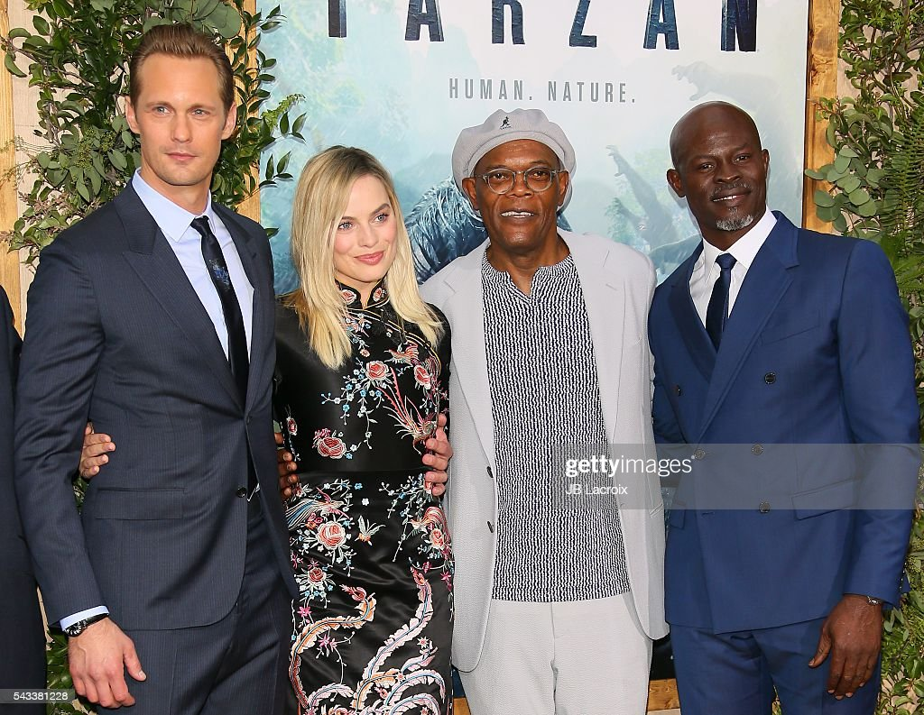 Alexander Skarsgard, <a gi-track='captionPersonalityLinkClicked' href=/galleries/search?phrase=Margot+Robbie&family=editorial&specificpeople=5781742 ng-click='$event.stopPropagation()'>Margot Robbie</a>, <a gi-track='captionPersonalityLinkClicked' href=/galleries/search?phrase=Samuel+L.+Jackson&family=editorial&specificpeople=167234 ng-click='$event.stopPropagation()'>Samuel L. Jackson</a> and <a gi-track='captionPersonalityLinkClicked' href=/galleries/search?phrase=Djimon+Hounsou&family=editorial&specificpeople=204469 ng-click='$event.stopPropagation()'>Djimon Hounsou</a> attend the premiere of Warner Bros. Pictures' 'The Legend of Tarzan' on June 27, 2016 in Hollywood, California.