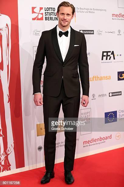 Alexander Skarsgard wearing a Prada tuxedo during the European Film Awards 2015 at Haus Der Berliner Festspiele on December 12 2015 in Berlin Germany
