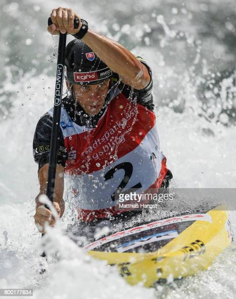Alexander Slafkovsky of Slovakia competes during the Canoe Single Men's Qualification of the ICF Canoe Slalom World Cup on June 23 2017 in Augsburg...