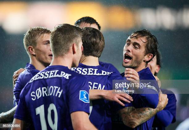 Alexander Sorloth and Jakob Poulsen of FC Midtjylland celebrate after scoring their first goal during the Danish Alka Superliga match between FC...