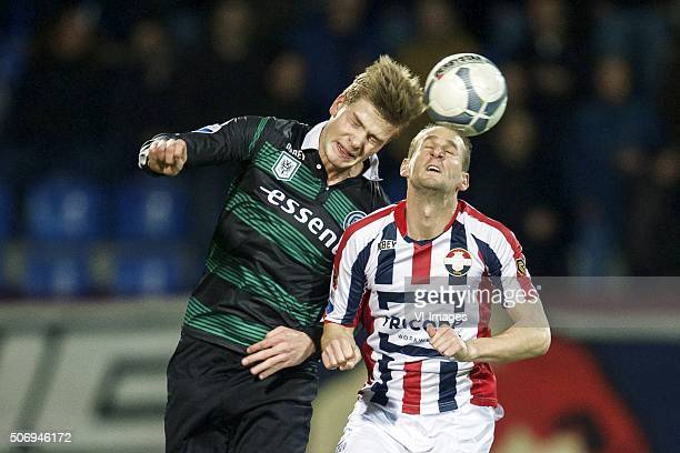 Alexander Sorloth of FC Groningen Frank van der Struijk of Willem II during the Dutch Eredivisie match between Willem II Tilburg and FC Groningen at...