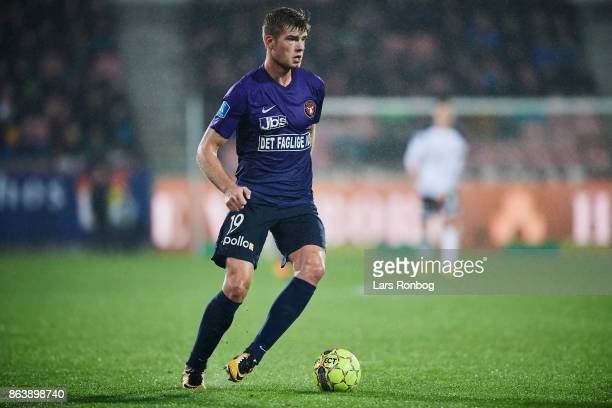 Alexander Sorloth of FC Midtjylland controls the ball during the Danish Alka Superliga match between FC Midtjylland and AC Horsens at MCH Arena on...