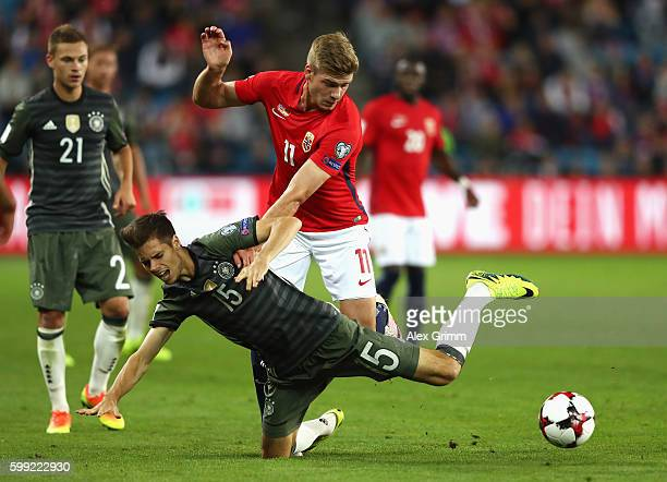Alexander Sorloth of Norway challenges Julian Weigl of Germany during the 2018 FIFA World Cup Qualifier Group C match between Norway and Germany at...