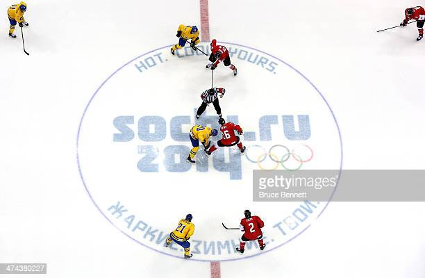 Alexander Steen of Sweden and Jonathan Toews of Canada face off during the Men's Ice Hockey Gold Medal match on Day 16 of the 2014 Sochi Winter...