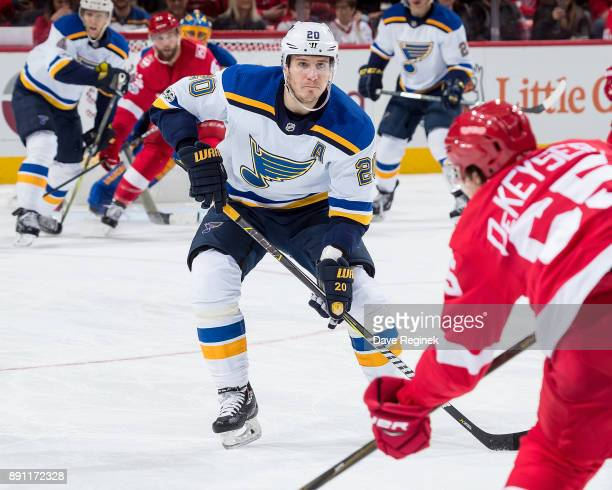 Alexander Steen of the St Louis Blues attempts to block a shot against the Detroit Red Wings during an NHL game at Little Caesars Arena on December 9...