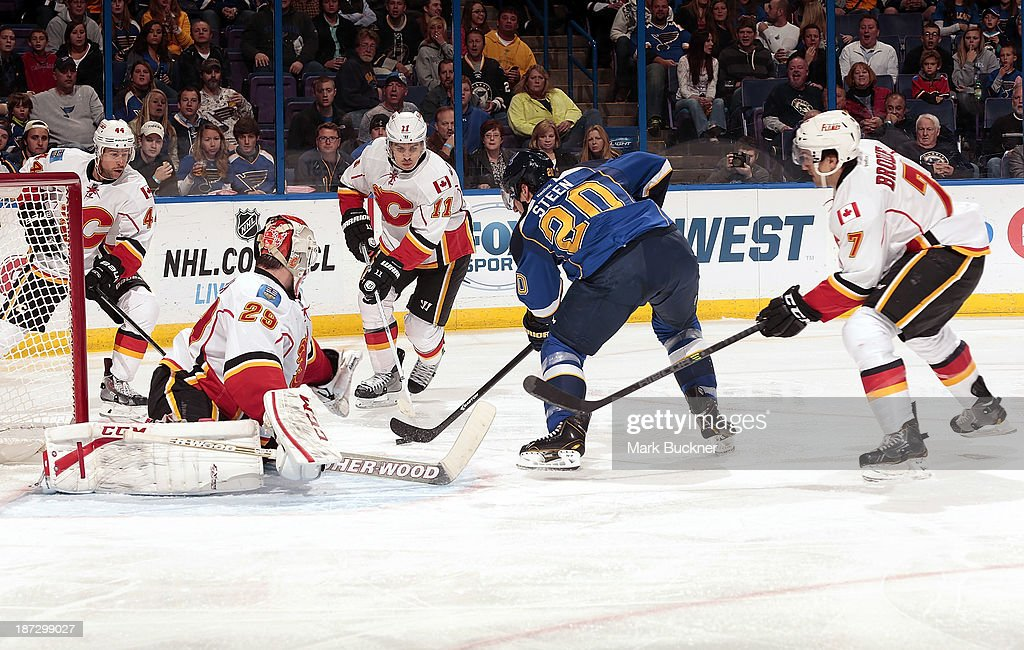 <a gi-track='captionPersonalityLinkClicked' href=/galleries/search?phrase=Alexander+Steen&family=editorial&specificpeople=600136 ng-click='$event.stopPropagation()'>Alexander Steen</a> #20 of the St. Louis Blues backhands the puck past goalie Reto Berra #29 of the Calgary Flames on November 7, 2013 at Scottrade Center in St. Louis, Missouri.