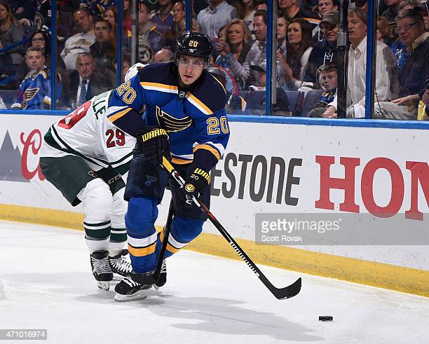 Alexander Steen of the St Louis Blues breaks away from Jason Pominville of the Minnesota Wild in Game Five of the Western Conference Quarterfinals...