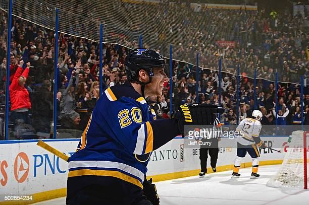 Alexander Steen of the St Louis Blues celebrates after scoring the game winning goal in overtime against the Nashville Predators on December 29 2015...