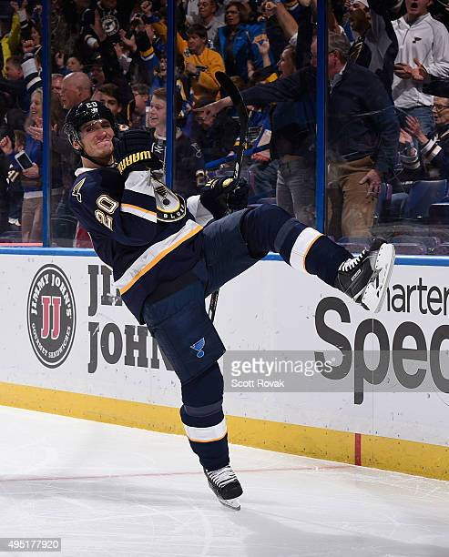 Alexander Steen of the St Louis Blues celebrates his goal against the Minnesota Wild on October 31 2015 at Scottrade Center in St Louis Missouri