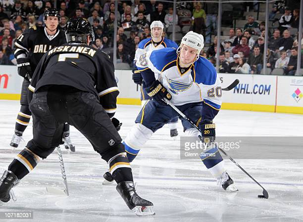 Alexander Steen of the St Louis Blues handles the puck against Matt Niskanen of the Dallas Stars on November 26 2010 at the American Airlines Center...