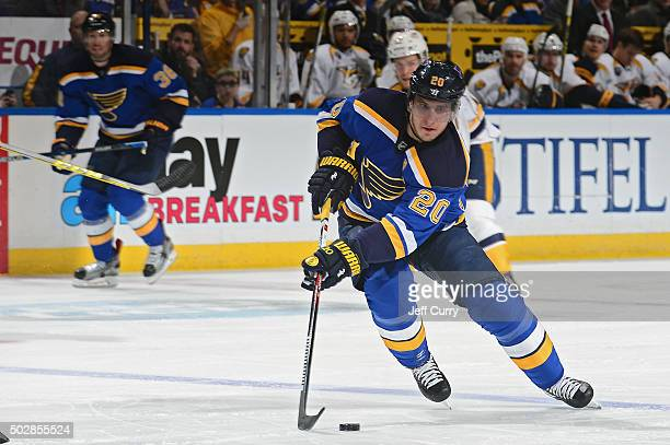 Alexander Steen of the St Louis Blues handles the puck against the Nashville Predators on December 29 2015 at Scottrade Center in St Louis Missouri