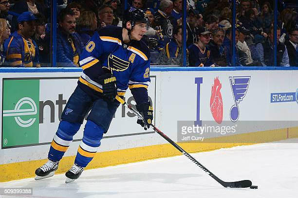 Alexander Steen of the St Louis Blues handles the puck against the San Jose Sharks at the Scottrade Center on February 4 2016 in St Louis Missouri