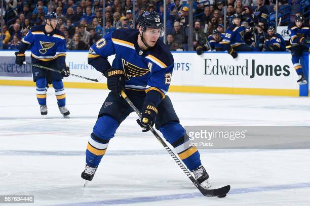 Alexander Steen of the St Louis Blues handles the puck during a game against the Columbus Blue Jackets at Scottrade Center on October 28 2017 in St...