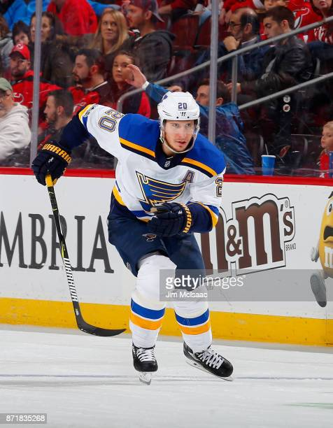 Alexander Steen of the St Louis Blues in action against the New Jersey Devils on November 7 2017 at Prudential Center in Newark New Jersey