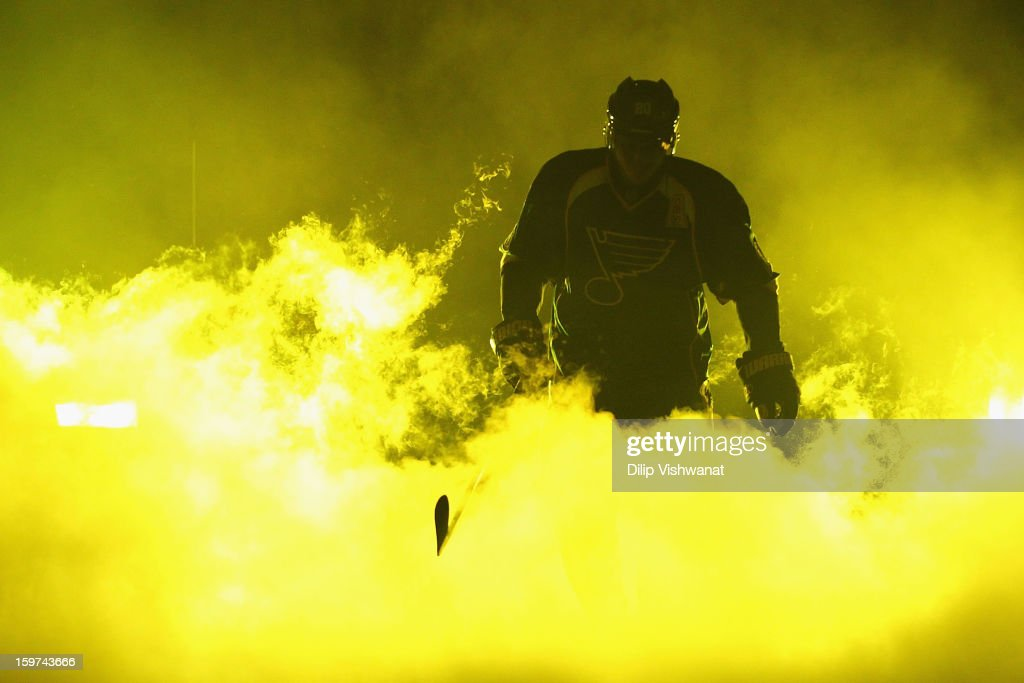 <a gi-track='captionPersonalityLinkClicked' href=/galleries/search?phrase=Alexander+Steen&family=editorial&specificpeople=600136 ng-click='$event.stopPropagation()'>Alexander Steen</a> #20 of the St. Louis Blues is introduced prior to playing against the Detroit Red Wings at the Scottrade Center on January 19, 2013 in St. Louis, Missouri.