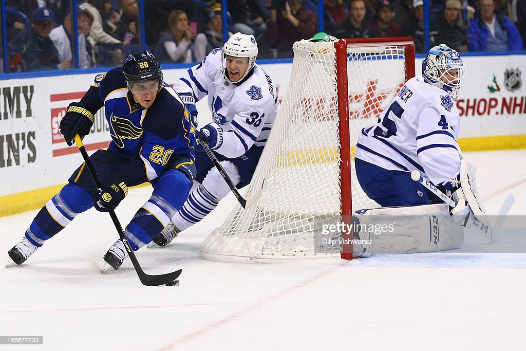 <a gi-track='captionPersonalityLinkClicked' href=/galleries/search?phrase=Alexander+Steen&family=editorial&specificpeople=600136 ng-click='$event.stopPropagation()'>Alexander Steen</a> #20 of the St. Louis Blues looks to take a shot on goal against <a gi-track='captionPersonalityLinkClicked' href=/galleries/search?phrase=Carl+Gunnarsson&family=editorial&specificpeople=5557315 ng-click='$event.stopPropagation()'>Carl Gunnarsson</a> #36 and <a gi-track='captionPersonalityLinkClicked' href=/galleries/search?phrase=Jonathan+Bernier&family=editorial&specificpeople=540491 ng-click='$event.stopPropagation()'>Jonathan Bernier</a> #45 of the Toronto Maple Leafs and at the Scottrade Center on December 12, 2013 in St. Louis, Missouri. The Blues beat the Leafs 6-3.