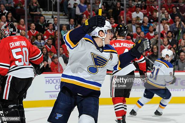 Alexander Steen of the St Louis Blues reacts after scoring against the Chicago Blackhawks in the first period of the NHL game at the United Center on...
