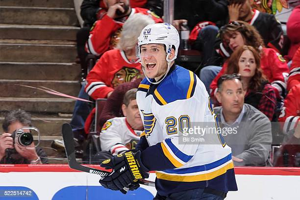 Alexander Steen of the St Louis Blues reacts after scoring against the Chicago Blackhawks in the third period of Game Four of the Western Conference...
