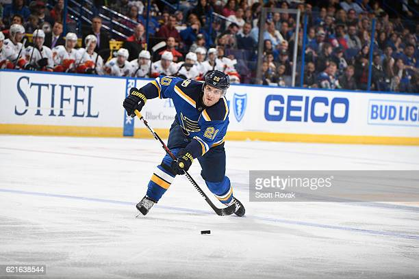 Alexander Steen of the St Louis Blues shoots the puck against the Calgary Flames on October 25 2016 at Scottrade Center in St Louis Missouri