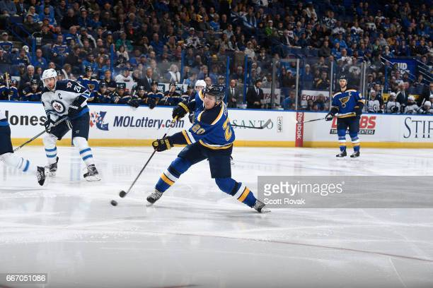 Alexander Steen of the St Louis Blues shoots the puck against the Winnipeg Jets on January 31 2017 at Scottrade Center in St Louis Missouri