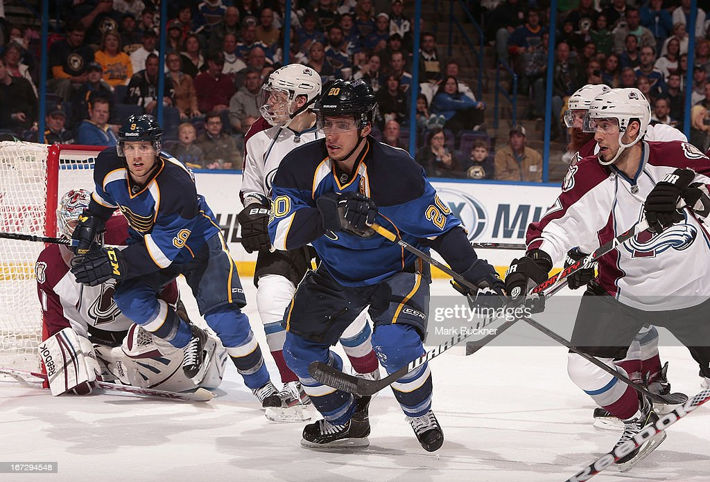 <a gi-track='captionPersonalityLinkClicked' href=/galleries/search?phrase=Alexander+Steen&family=editorial&specificpeople=600136 ng-click='$event.stopPropagation()'>Alexander Steen</a> #20 of the St. Louis Blues skates against <a gi-track='captionPersonalityLinkClicked' href=/galleries/search?phrase=Aaron+Palushaj&family=editorial&specificpeople=4450671 ng-click='$event.stopPropagation()'>Aaron Palushaj</a> #17 of the Colorado Avalanche in an NHL game on April 23, 2013 at Scottrade Center in St. Louis, Missouri.