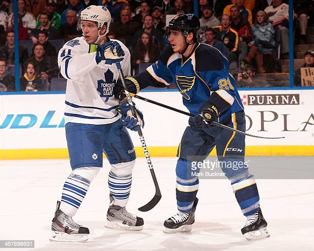 Alexander Steen of the St Louis Blues skates against Nikolai Kulemin of the Toronto Maple Leafs during an NHL game on December 12 2013 at Scottrade...