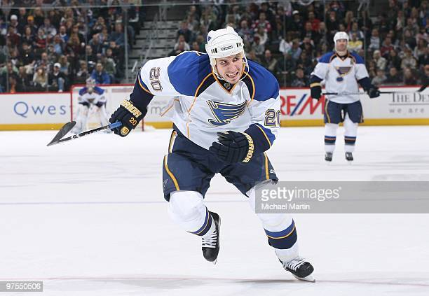 Alexander Steen of the St Louis Blues skates against the Colorado Avalanche at the Pepsi Center on March 6 2010 in Denver Colorado The Avalanche...