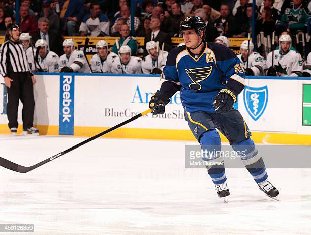Alexander Steen of the St Louis Blues skates against the San Jose Sharks during an NHL game on December 17 2013 at Scottrade Center in St Louis...