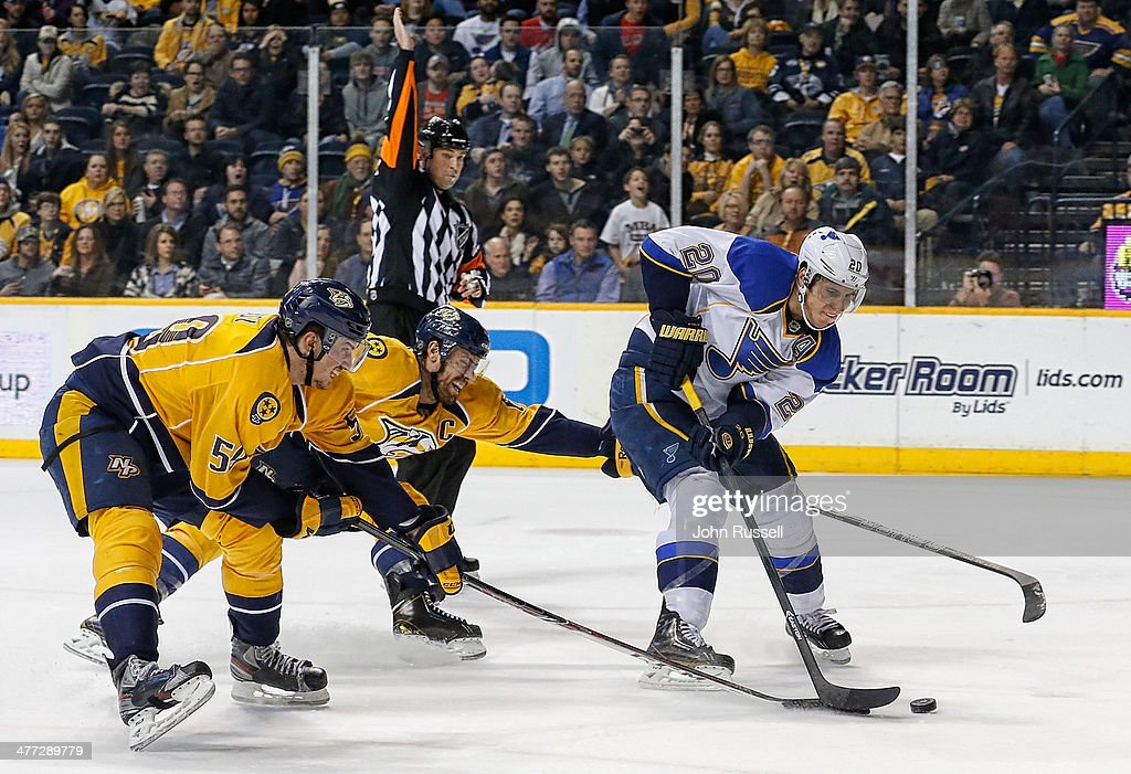 <a gi-track='captionPersonalityLinkClicked' href=/galleries/search?phrase=Alexander+Steen&family=editorial&specificpeople=600136 ng-click='$event.stopPropagation()'>Alexander Steen</a> #20 of the St. Louis Blues skates in on net with the puck against <a gi-track='captionPersonalityLinkClicked' href=/galleries/search?phrase=Shea+Weber&family=editorial&specificpeople=554412 ng-click='$event.stopPropagation()'>Shea Weber</a> #6 and <a gi-track='captionPersonalityLinkClicked' href=/galleries/search?phrase=Roman+Josi&family=editorial&specificpeople=4247871 ng-click='$event.stopPropagation()'>Roman Josi</a> #59 of the Nashville Predators at Bridgestone Arena on March 6, 2014 in Nashville, Tennessee.