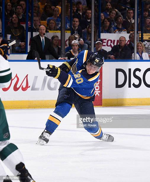 Alexander Steen of the St Louis Blues takes a shot against the Minnesota Wild on April 11 2015 at the Scottrade Center in St Louis Missouri