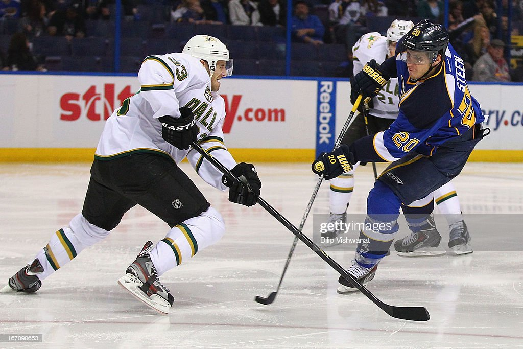 <a gi-track='captionPersonalityLinkClicked' href=/galleries/search?phrase=Alexander+Steen&family=editorial&specificpeople=600136 ng-click='$event.stopPropagation()'>Alexander Steen</a> #20 of the St. Louis Blues takes a shot on goal against <a gi-track='captionPersonalityLinkClicked' href=/galleries/search?phrase=Alex+Goligoski&family=editorial&specificpeople=791866 ng-click='$event.stopPropagation()'>Alex Goligoski</a> #33 of the Dallas Stars during the third period at the Scottrade Center on April 19, 2013 in St. Louis, Missouri. The Blues beat the Stars 2-1.