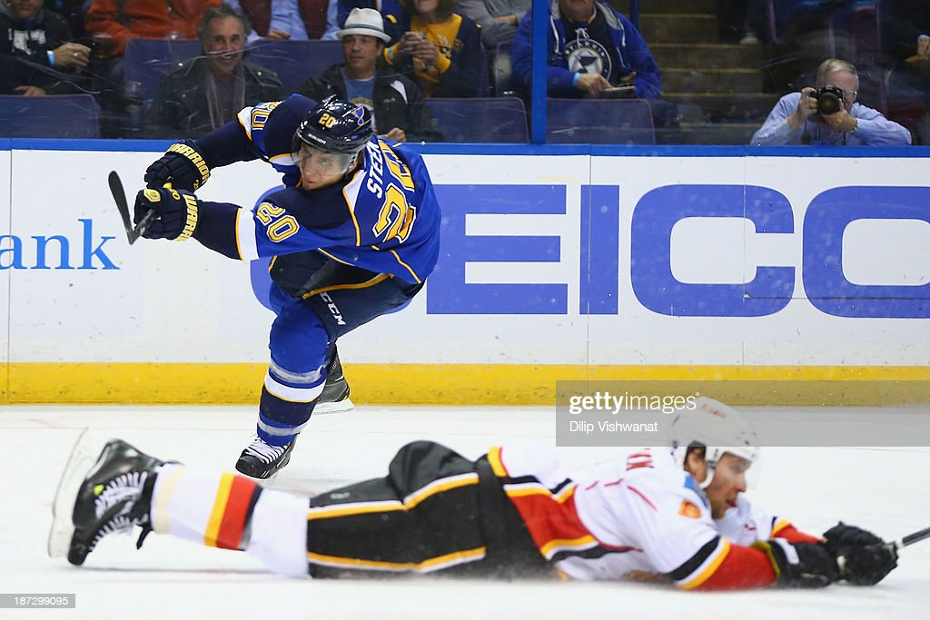 <a gi-track='captionPersonalityLinkClicked' href=/galleries/search?phrase=Alexander+Steen&family=editorial&specificpeople=600136 ng-click='$event.stopPropagation()'>Alexander Steen</a> #20 of the St. Louis Blues takes a shot on goal against the Calgary Flames at the Scottrade Center on November 7, 2013 in St. Louis, Missouri. The Blues beat the Flames 3-2.