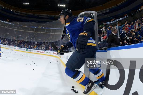 Alexander Steen of the St Louis Blues takes the ice for warmups against the Chicago Blackhawks for his first game of the season since coming off of...