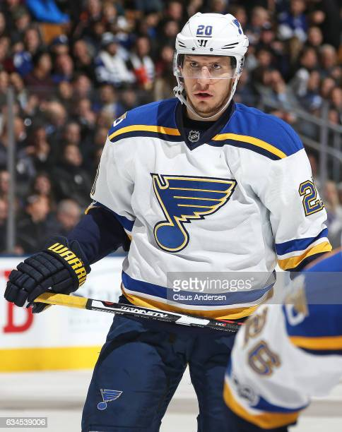 Alexander Steen of the St Louis Blues waits for a faceoff against the Toronto Maple Leafs during an NHL game at the Air Canada Centre on February 9...