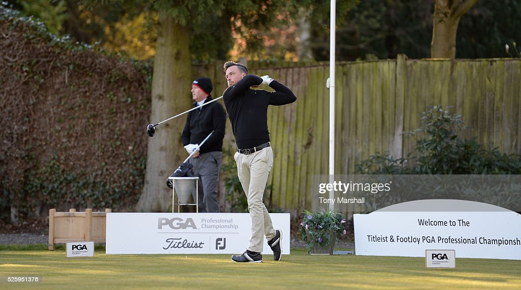 Alexander Stockton of Moor Hall Golf Club plays his first shot on the 1st tee during the PGA Professional Championship - Midland Qualifier at Little Aston Golf Club on April 29, 2016 in Sutton Coldfield, England.